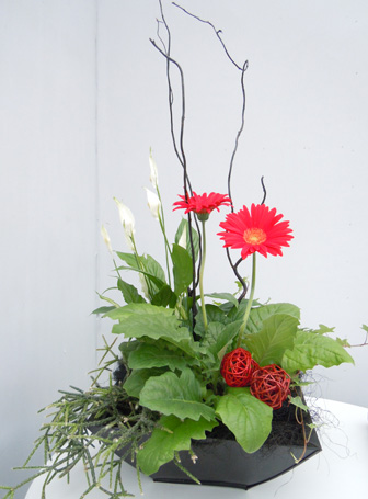 Exhibition stand flower arrangement