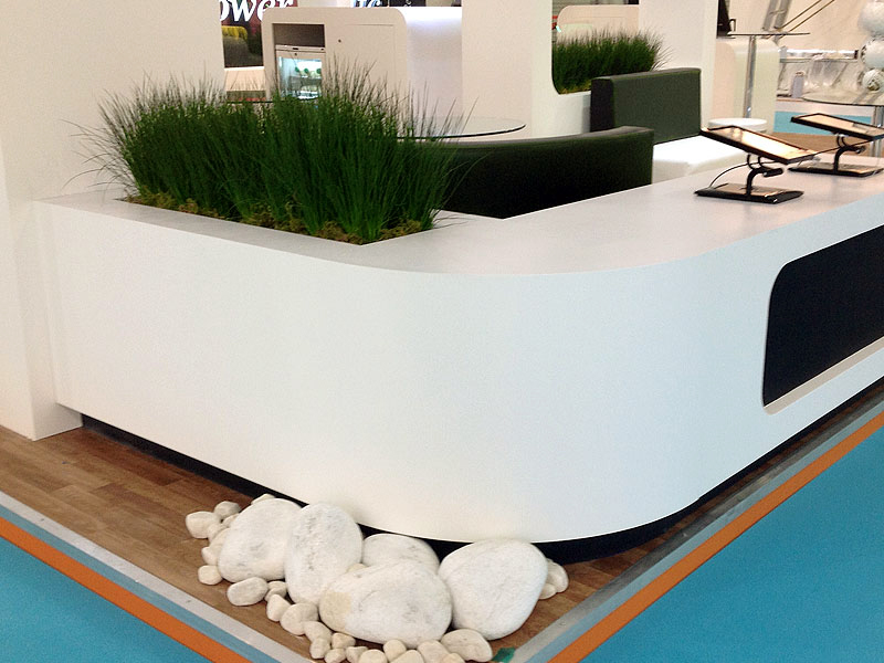 Simple contemporary grasses for custom built containers for Design Craft Exhibitions