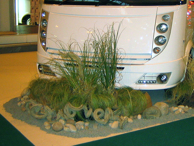 Contemporary Display around Motorhome with Grasses & Driftwood