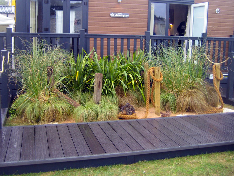Sand & Grass Display to front of Mobile Home