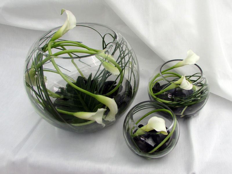 Glass Globes of Calla Lillies available in different sizes