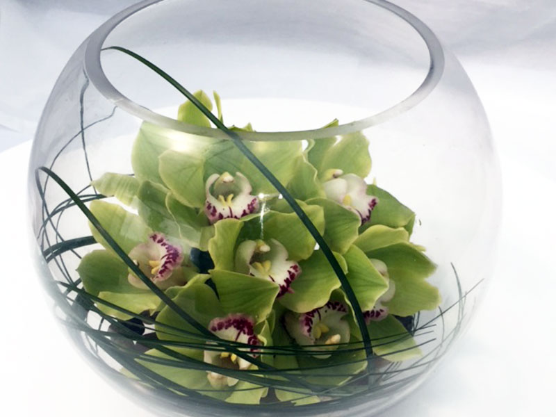 Glass Globe of Cymbidium Orchids