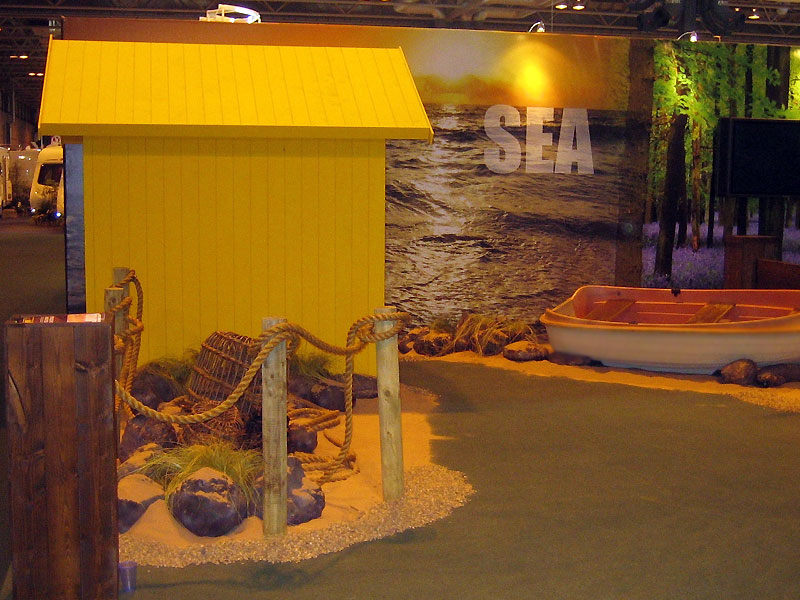 Beach Hut Boat Scene