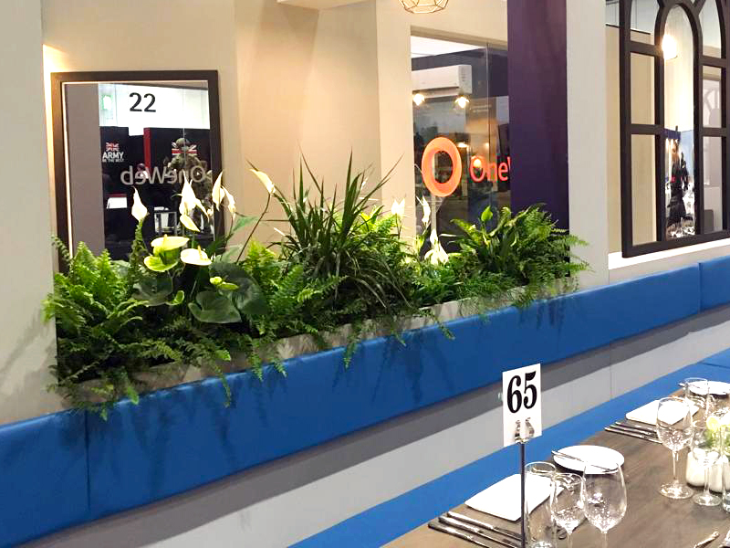 Troughs of stylish mixed foliage for hospitality